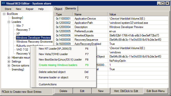 Visual BCD Editor Screenshot 1