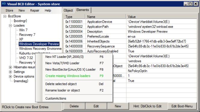 Visual BCD Editor Screenshot