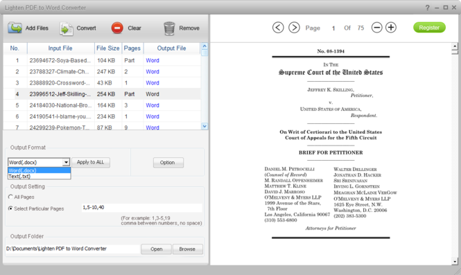 Lighten PDF to Word Converter Screenshot 1