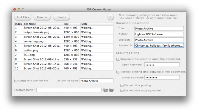Lighten PDF Creator for Mac Screenshot