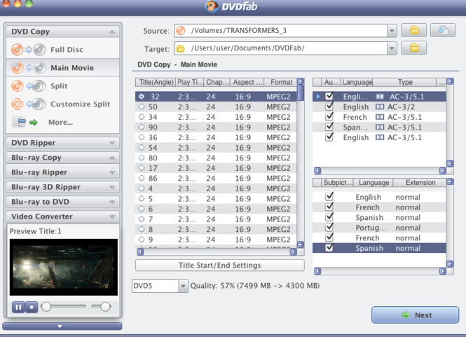 DVDFab Copy Suite Pro for Mac Screenshot
