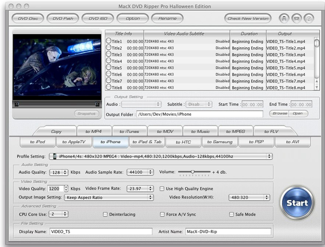 MacX DVD Ripper Pro Halloween Edition Screenshot