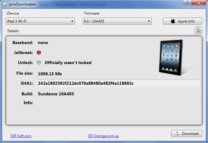 ipswDownloader Screenshot