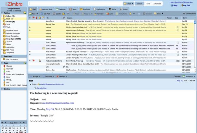 Zimbra Desktop Screenshot 2