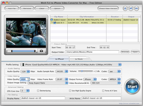 WinX FLV to iPhone Converter for Mac Screenshot