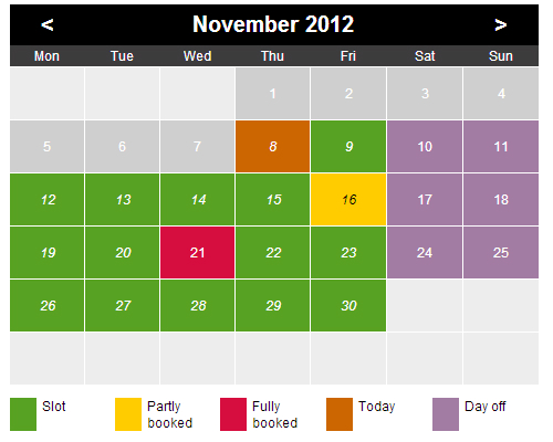 Time Slots Booking Calendar Screenshot 1