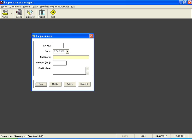 Telthesta Expenses Manager Screenshot
