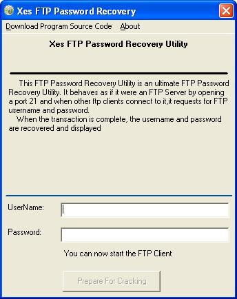 Xes FTP Password Recovery Screenshot 1
