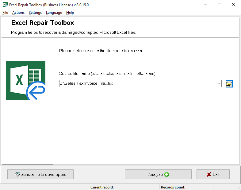 Excel Repair Toolbox Screenshot