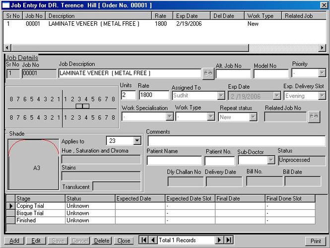 Precise Dental Lab Management Software Screenshot