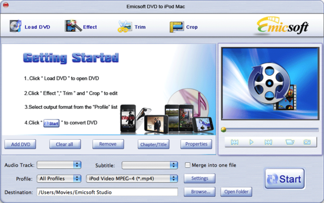 Emicsoft DVD to iPod Converter for Mac Screenshot