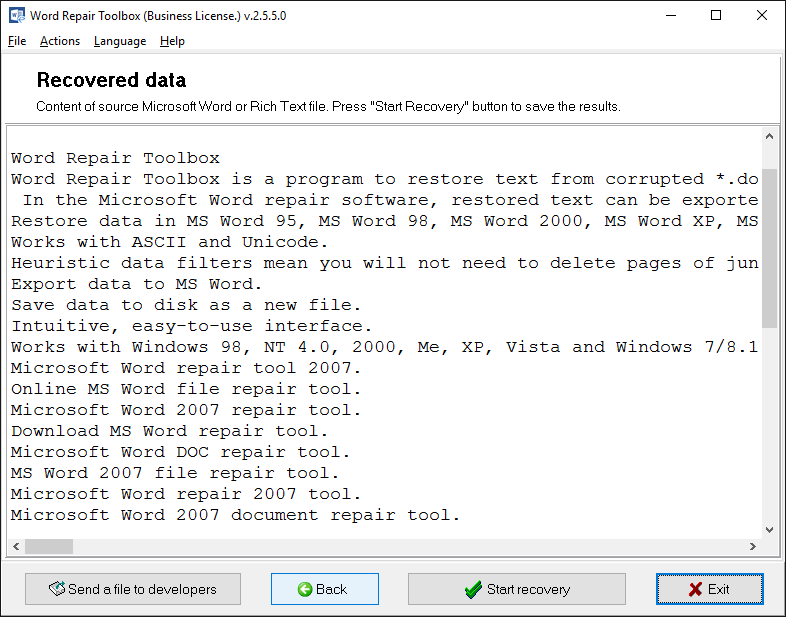 Word Repair Toolbox Screenshot 3