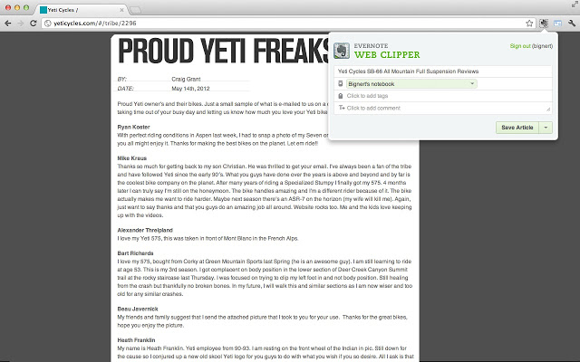 Evernote Web Clipper Screenshot