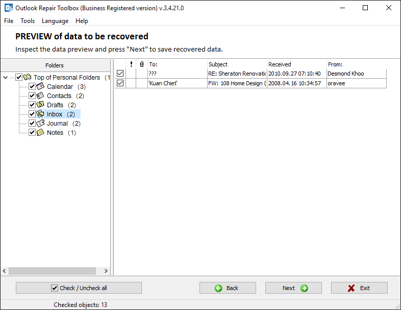 Outlook Repair Toolbox Screenshot 4