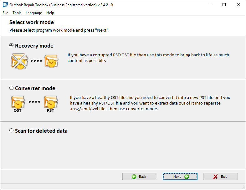 Outlook Repair Toolbox Screenshot 3