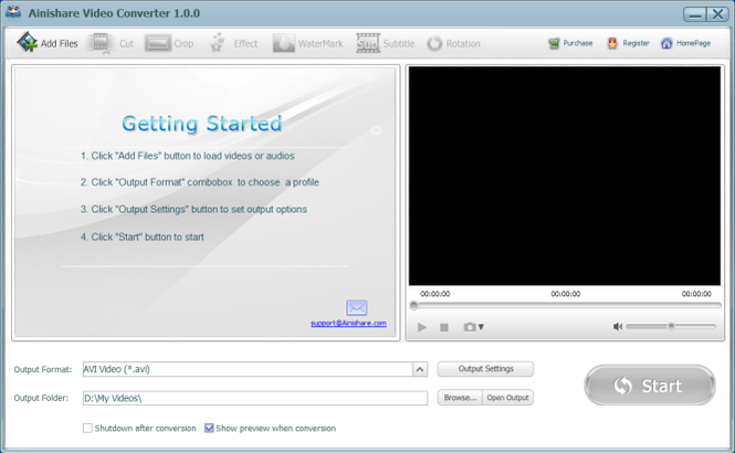 Ainishare Free Video Converter Screenshot