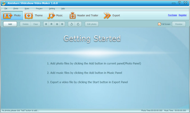 Ainishare Free Slideshow Video Maker Screenshot