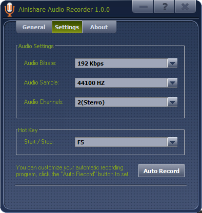 Ainishare Free Audio Recorder Screenshot