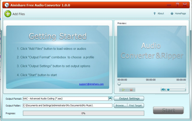 Ainishare Free Audio Converter Screenshot