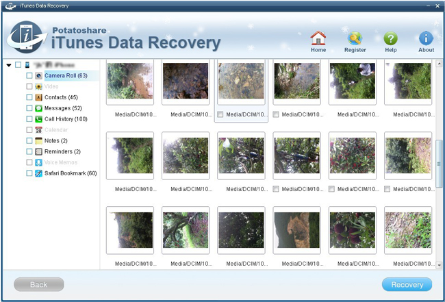 Potatoshare iTunes Data Recovery Screenshot