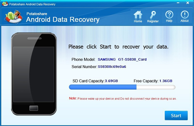 Potatoshare Android Data Recovery Screenshot