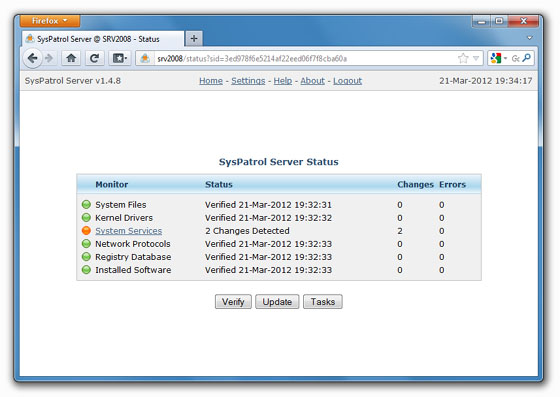 SysPatrol Server Screenshot