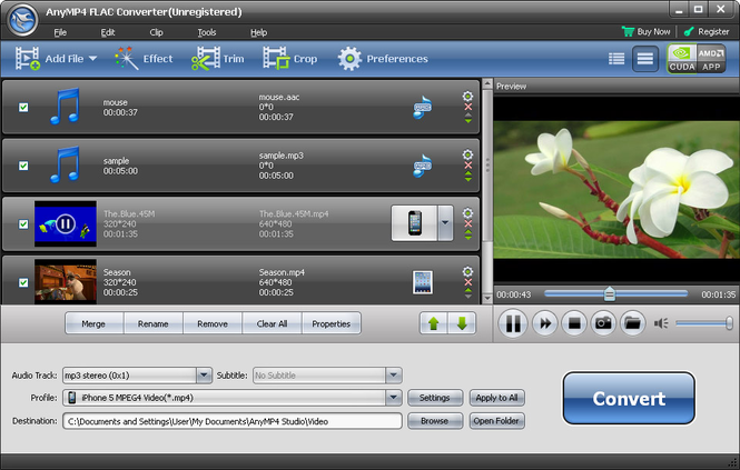 AnyMP4 FLAC Converter Screenshot