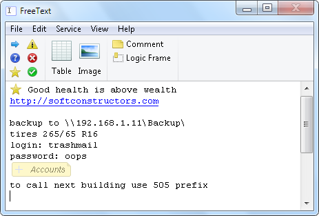 FreeText Screenshot