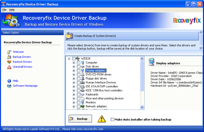 Free Device Driver Backup Screenshot