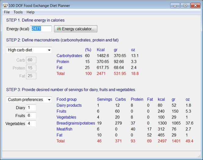 Food Exchange Diet Planner Screenshot 1