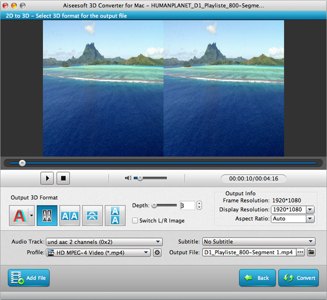 Aiseesoft 3D Converter for Mac Screenshot