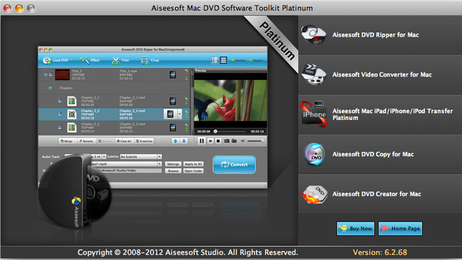 Aiseesoft Mac DVD Toolkit Platinum Screenshot