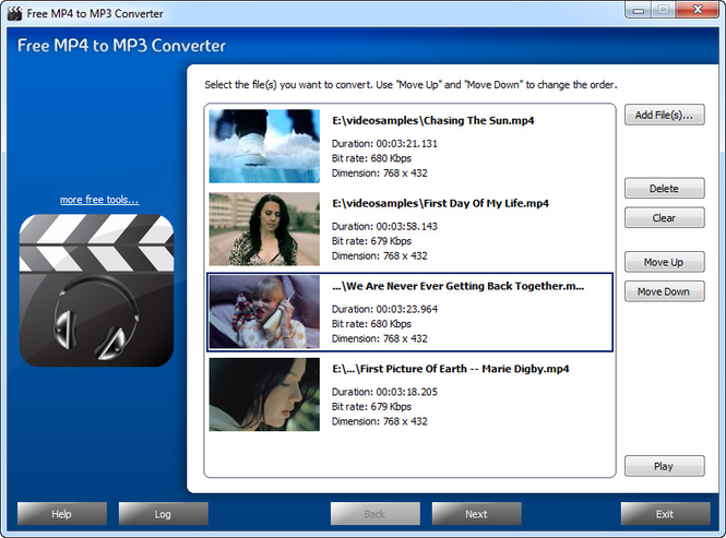 Free MP4 to MP3 Converter Screenshot