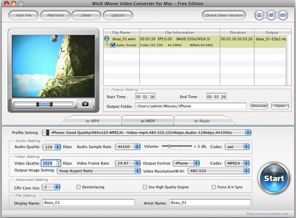 WinX iMovie Video Converter for Mac Screenshot