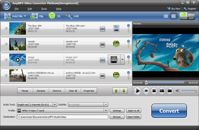 AnyMP4 Video Converter Platinum Screenshot