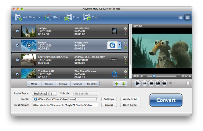 AnyMP4 MOV Converter for Mac Screenshot