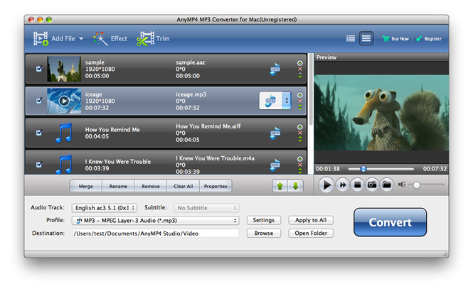 AnyMP4 MP3 Converter for Mac Screenshot