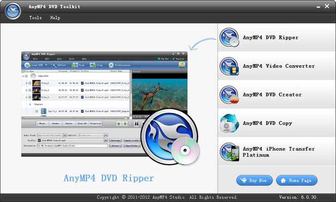 AnyMP4 DVD Toolkit Screenshot 1