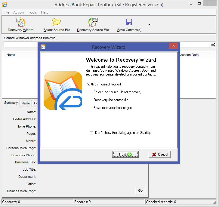 Address Book Repair Toolbox Screenshot 3