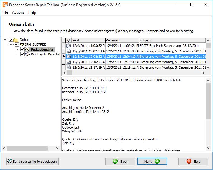 Exchange Server Repair Toolbox Screenshot 4