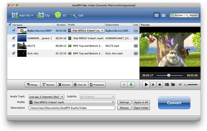 AnyMP4 Mac Video Converter Platinum Screenshot