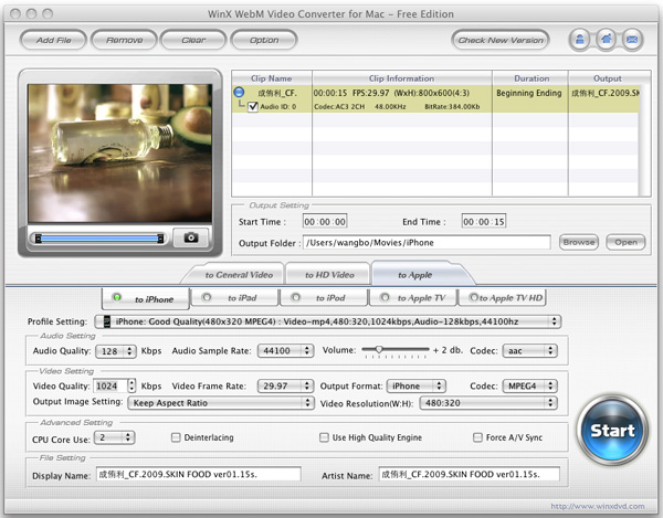WinX WebM Video Converter for Mac Screenshot