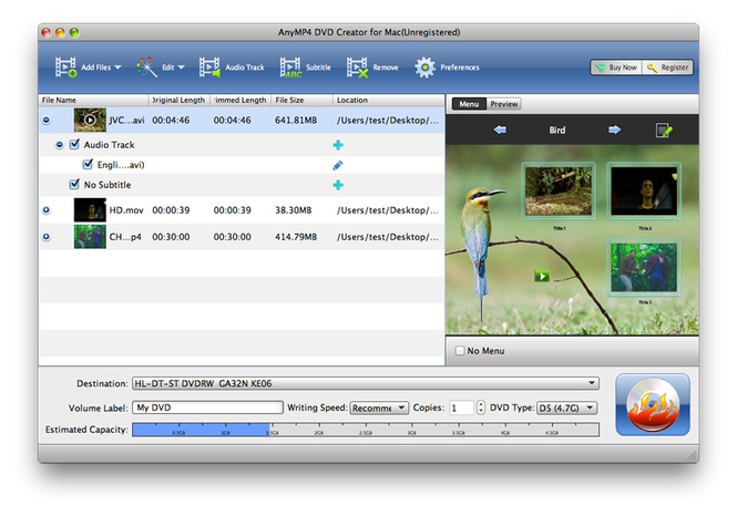 AnyMP4 DVD Creator for Mac Screenshot 1