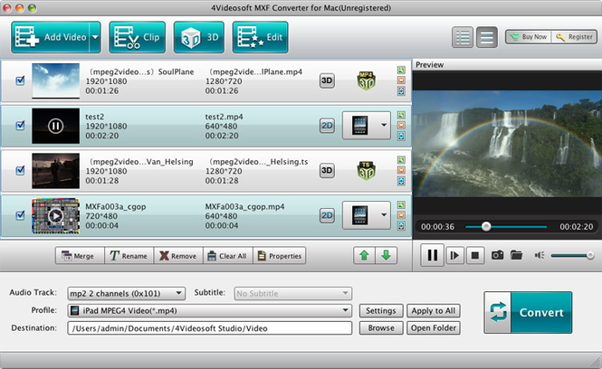 4Videosoft MXF Converter for Mac Screenshot