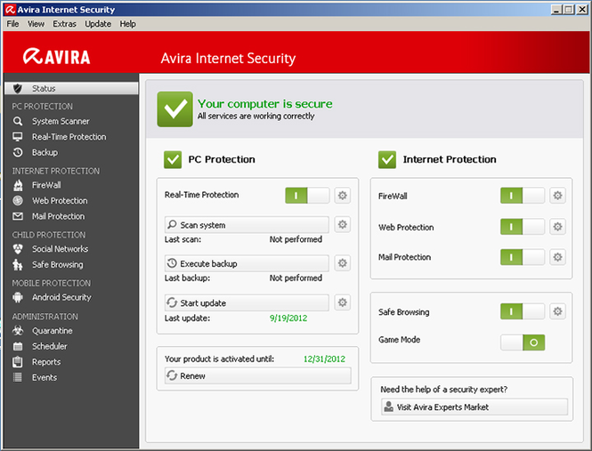 Avira Internet Security 2013 Screenshot 1