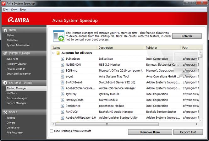 Avira Free System Speedup Screenshot 2