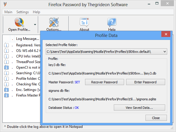 Firefox Password by Thegrideon Software Screenshot