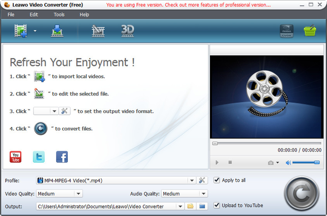 Leawo Free 3GP to MP4 Converter Screenshot