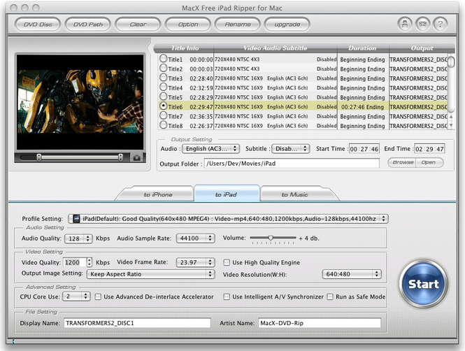 MacX Free iPad Ripper for Mac Screenshot 1