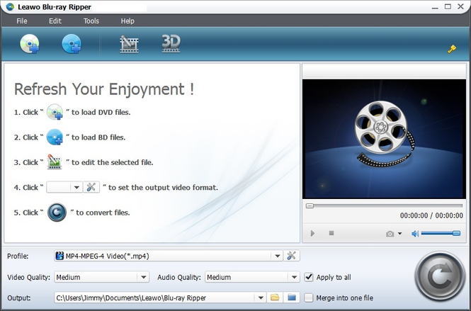 Leawo Blu-ray to MP4 Converter Screenshot 1